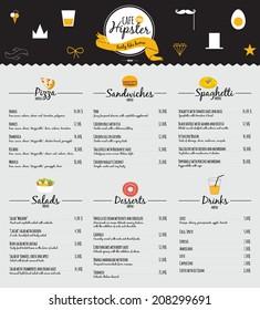 Big set of restaurant and cafe menu design, template design in vector. Cooking frames, labels and graphic elements in hipster style design. Vintage-styled illustration. Fast Food.