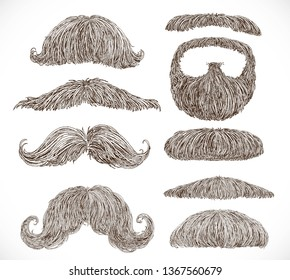 Big set of retro and classic mustaches graphic ink drawing on a white background