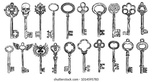 Big set of retro keys, vintage style. Key collection illustration for antiques decoration.  Ornamental medieval collection. Hand drawn old realistic design Vector.