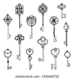 Big set of retro sketch keys, vintage style. Illustration of the old keys. Hand-drawn ornamental collection.