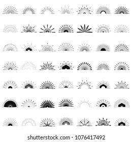 Big set of Retro Sun burst shapes. 49 Half Vintage logo, labels, badges. Vector design element isolated. Minimal black firework burst.