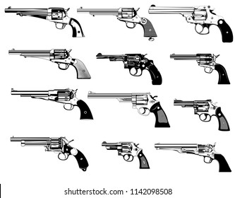 big set revolvers firearms guns