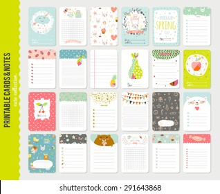 Big Set of Romantic and Cute Vector Cards, Notes, Stickers, Labels, Tags with Spring Illustrations and Wishes. Template for Greeting Scrap booking, Congratulations, Invitations. Vertical Card Design