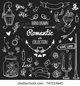 Big set of romantic elements with banners, lettering, flowers, hearts, arrows, candles, lantern. Vintage hand drawing style. Wedding,Valentines day, holidays, birthday, design templates, invitations