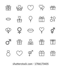 Big set of romantic line icons. Vector illustration isolated on a white background. Premium quality symbols. Stroke vector icons for concept or web graphics. Simple thin line signs.