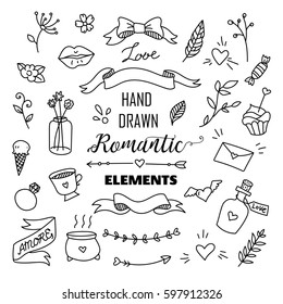 Big set of romantic style hand drawn elements with banners, badges, flowers, leaves, arrows. Greeting card design elements, love, romantic icon set
