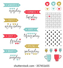 Big set of romantic vector elements for cards and stickers. Love theme design. For wedding, anniversary, birthday, Valentine's day, party invitations, scrapbooking. Vector illustration.