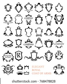 Big set of Rotal Elegant Heraldic Blazons - Vector Illustration isolated on white.