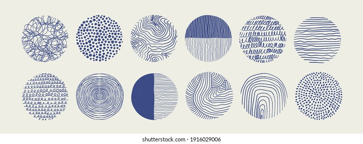 Big Set of round Abstract blue Backgrounds or Patterns. Hand drawn doodle shapes. Spots, drops, curves, Lines. Contemporary modern trendy Vector illustration. Poster, Social media Icons template
