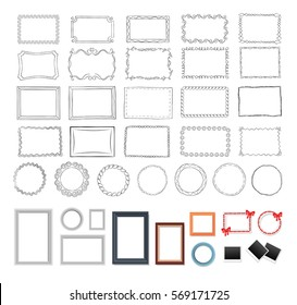 Big set of round, black and colourful rectangular frames. Vector illustration of doodle antique hand drawn frameworks with curved borders and modern realistic framings with and without decorations.