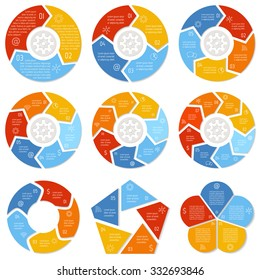 Big set of round infographic diagrams. Circular connected charts with 3, 4, 5, 6, 7, 8 options. Paper progress steps for tutorial. Business concept sequence banners. EPS10 workflow layout.