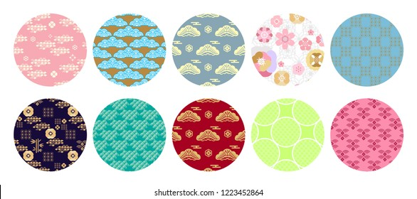 Big set of  round japanese, chinese elements for  banner,   in oriental style.  Cloud, wave, moon, bamboo tree, sakura, and mountain. Happy chinese new year,  mid autumn festival.Vector illustration.