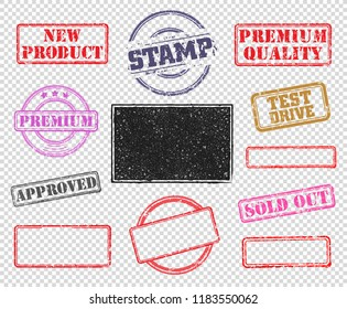 Big set of rubber stamps. Vector illustration for use on opacity background