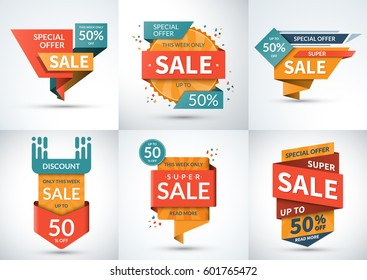 Big set of sale banners. Special offer templates. Discount labels. Up to 50 percent off vector badges. Half price colorful stickers. Shopping backgrounds