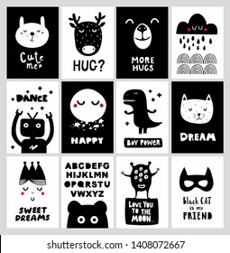 Big set of scandinavian posters for nursery decor. Collection of wall art in black and white style.