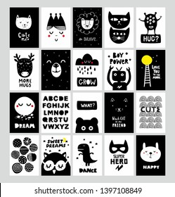 Big set of Scandinavian posters and prints for nursery decor or children room. Vector collection with vector images of animals, monsters and design elements.