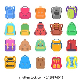 Big set school backpack, sport and travel bag different shape flat icon isolated on white background