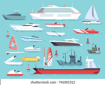 Big set of sea boats and little fishing ships. Sailboats flat vector icons. Illustration of water transport yacht and ship sailboat