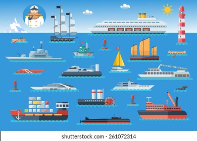 Big set of sea ships. Water carriage and maritime transport in flat design style. Side view vector illustration.