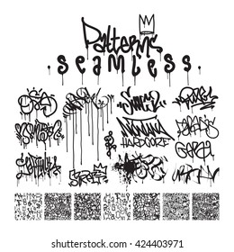 Big set  seamless patterns, graffiti, king of style in black and white colors. The collections consists 7 original calligraphy compositions