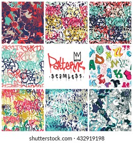Big set  seamless patterns, graffiti, king of style. Original youth, repeating image for using pattern on any items, T-shirts, wallpaper, curtains