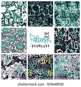 Big set of seamless patterns, graffiti style