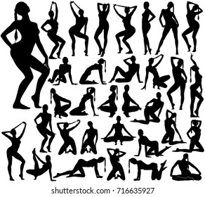 Big set of sexy pinup woman with long hair silhouettes in different standing and sitting poses. Beautiful girl in bikini dancing and teasing.