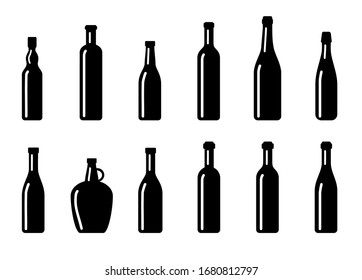 Big Set of silhouette wine bottles. Vector isolated on white background.
