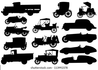 Big set of silhouettes of classical cars