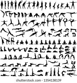 Big set of silhouettes of woman doing yoga exercises.  Icons of girl stretching and relaxing her body in many different yoga poses. Black shapes of woman isolated on white background. Yoga complex.