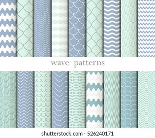 Big set with simple seamless patterns. Background with waves .Wavy patterns. Vector illustration.