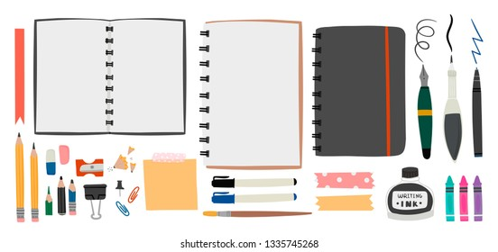 Big set for sketching. Various tools. Hand drawn vector set. Sketchbook, crayons, pencil, eraser, pen, marker, ink etc. Colored trendy illustration. All elements are isolated