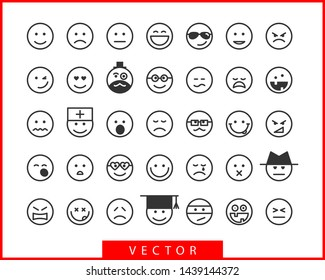 Big set smile icon vector symbol. Smiling face cartoon character.