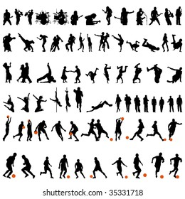 Big Set of Smooth Different People Vector Silhouette. Dance and Sport. Singing, Rock Musicians, Jumping, Standing,  Football, Soccer, Basketball.  High Detail Vector Illustration.