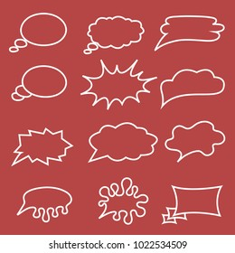 Big set of speech bubbles on red background.