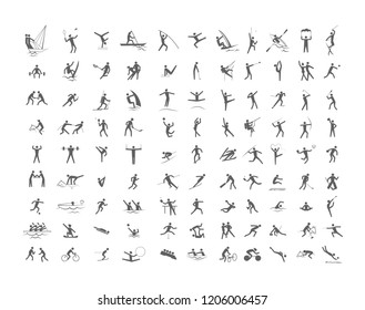 Big set of sport games. Collection of activity icons with volleyball, football, gymnastics and swimming. Line figure. Isolated vector illustration