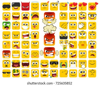 Big set of square emoticons with different emotions in a flat design