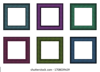 Big set of squared vintage colorful frame. Place for text. Vintage antique beautiful rectangular frames. Template vector illustration. Decorative border with animal ornament.