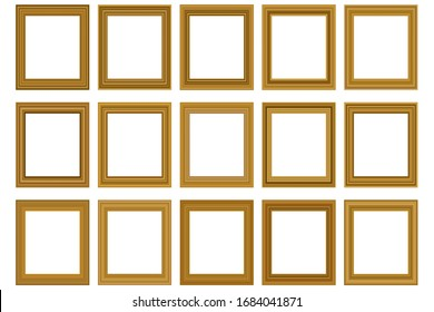 Big set of squared vintage gold frame for your design. Vintage cover. Place for text. Vintage antique beautiful rectangular frames. Template vector illustration.
