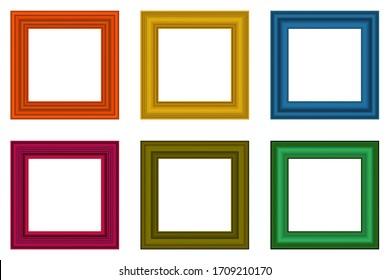Big set of squared vintage  wooden frame for your design. Vintage cover. Place for text. Vintage colorful antique beautiful rectangular frames. Template vector illustration.
