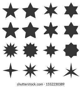 Big set of stars - vector. Vector star icons isolated. Black star icon.