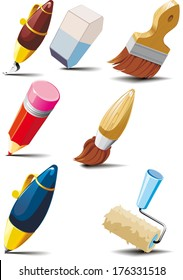 Big set of stationery for writing, drawing and painting
