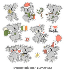 Big set stickers badges with cute koala bear in different poses. I love koala. Trendy patches with happy animals.