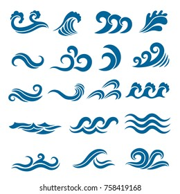 Big set of stylized ocean waves. Colored vector set. Sea water wave, ocean flowing and swirl illustration