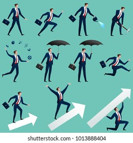 Big set successful business changes in different situations separately on blue. The person runs, goes, holds an umbrella, costs on the shooter, juggles. Vector flat illustration.