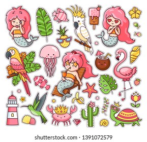 Big set of summer tropical stickers with kawaii mermaids, cockatoo, macaw, flamingo, parrot, hummingbird, crab, turtle, jellyfish. Collection of vector illustration for print, postcard, card, pins.
