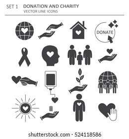 Big set of symbols of charity, aid and donations. Modern flat thin line icons collection. Vector background with sketch objects. Black and white elements. Illustration with social work and social care