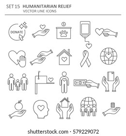 Big set symbols of charity, aid and donations. Modern flat thin line icons collection. Vector background with black and white elements. Illustration with humanitarian relief and social care