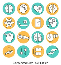Big set symbols of psychological help. Modern flat thin line icons collection. Vector background with black and white elements. Illustration with health care and social care
