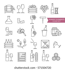 Big set symbols of wine and wine making. Modern flat thin line icons design. Vector background with black and white signs, logo. Illustration with winery elements and wine icon collection